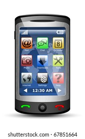 Vector Mobile phone with icons on the touch screen