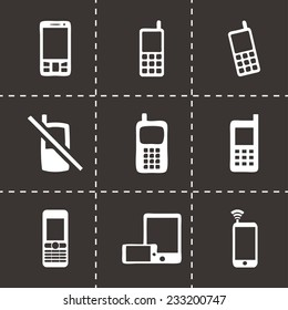 Vector mobile phone icons set on black background