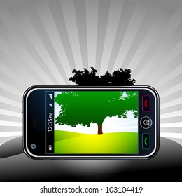 Vector mobile phone take a picture of a panorama