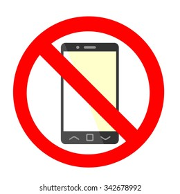 Vector mobile phone using and texting restriction round sign with white background.  Texting and calling are not allowed. No cell phone. Cell phone using is prohibited
