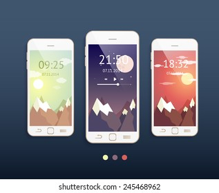 Vector mobile phones with three different backgrounds: morning, evening and night. Phone mockup