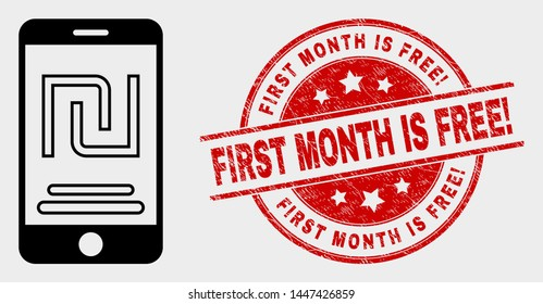 Vector mobile shekel account pictogram and First Month Is Free! watermark. Red rounded scratched watermark with First Month Is Free! caption.