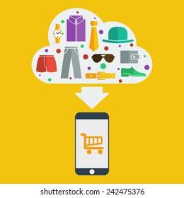 Vector mobile shopping man