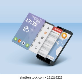 Vector mobile or smartphone icon showing user interface on 3d tiles