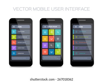 Vector mobile user interface design with icons and buttons.