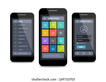 Vector mobile user interface design with icons and buttons. Member login ui and navigation menu.