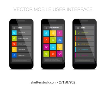 Vector mobile user interface design. Colorful ui layout. Set of home pages.