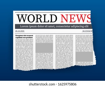 Vector mock up of a blank daily newspaper. Fully editable whole newspaper in clipping mask. Vector illustration