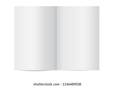 Vector mock up of booklet isolated. Opened vertical magazine, brochure or notebook template on white background. 3d illustration for your design.