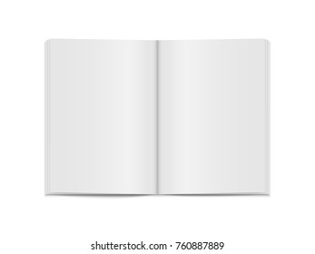 Vector mock up of open book isolated  on white. 3d vertical brochure page, notebook, magazine template with empty place for text.