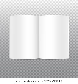 Vector mock up of open white blank book isolated on transparent background. Horizontal realistic magazine, booklet, brochure or notebook template for your design. In front side of book.