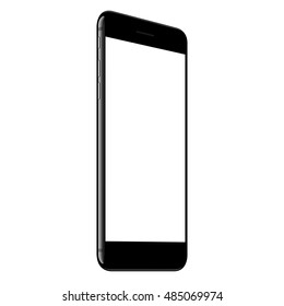vector, mock up phone jet black color white screen perspective view