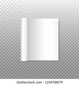Vector mock up of realistic book with curled paperback isolated on transparent background. Open horizontal booklet, brochure, book, magazine, menu or notebook template for your design.