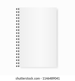 Vector mock up realistic opened notebook. Vertical blank copybook with metallic silver spiral. Template of organizer or diary isolated.