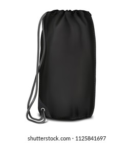 Vector. Mock Up. Black Backpack bag cylinder