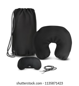 Vector. Mock Up. Black Set for sleep_(Air pillow, Backpack bag, Blindfold, Earplugs)