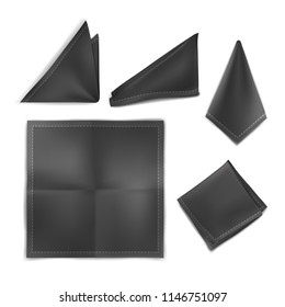 Vector. Mock Up. Black Set Handkerchief