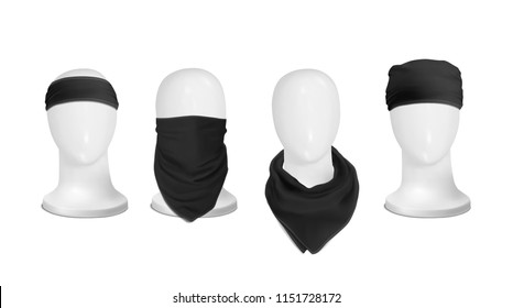 Vector. Mock Up. Black Set Bandana (buff) for head on the manekenium head