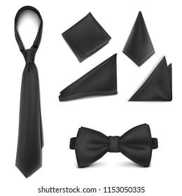 Vector. Mock Up. Black Set Necktie, Bow tie and Handkerchief