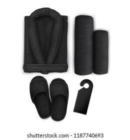 Vector. Mock Up. Black Set Spa Towel, Slippers, Bathrobe, Door hanger