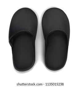 Vector. Mock Up. Black Slippers