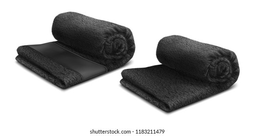 Vector. Mock Up. Black Towel Roll