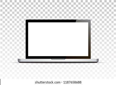 Vector mock up. Realistic laptop with empty screen standing. Computer notebook. Isolated on transparent background.
