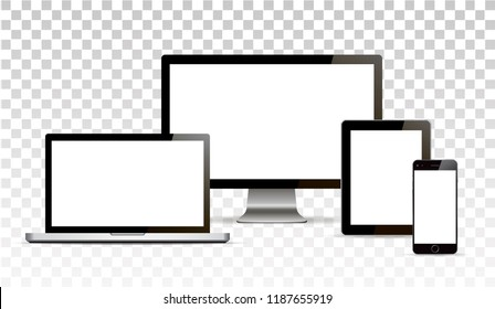Vector mock up. Set of blank screens. Computer, tablet on transparent background. Isolated. Realistic illustration