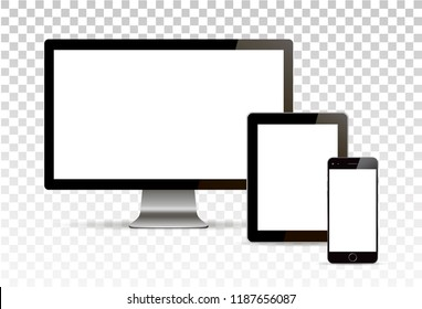 Vector mock up. Set of blank screens. Computer, tablet, phone on transparent background. Isolated