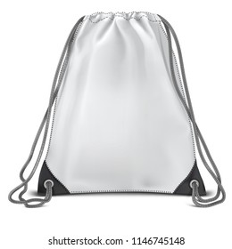 Vector. Mock Up. White Backpack bag