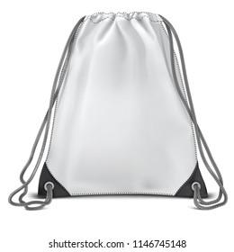 Vector. Mock Up. White Backpack bag