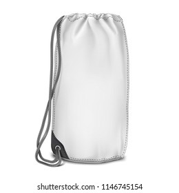 Vector. Mock Up. White Backpack bag Cylinder