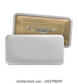 Vector. Mock Up. White rectangular badge pin brooch. Realistic illustration isolated on white background.