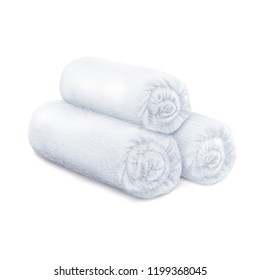 Vector. Mock Up. White rolled fluffy terry towels