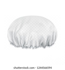 Vector. Mock Up. White transparent Shower cap. Front side.