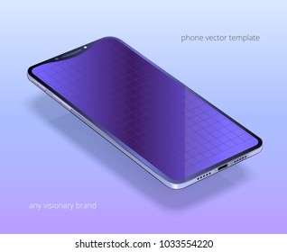 Vector mock up of a visionary smartphone. Black device with a silver edge, blank blue purple display. Empty screen with perspective grid for interfaces. Realistic 3D phone floats over vivid backdrop.