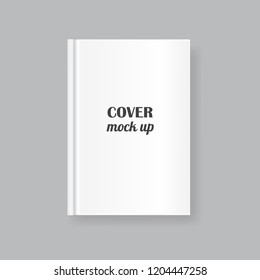 Vector mock up of white blank book cover isolated on grey background. Realistic closed vertical book, magazine or notebook template for your design. In front side of book.