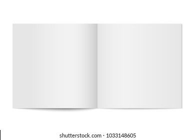 Vector mockup of booklet cover isolated. Opened square magazine, brochure or notebook template on white background. 3d illustration for your design