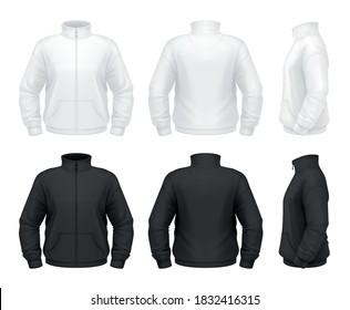 Vector mockup of classic men's fleece jacket.