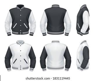 Vector mockup of classic varsity jacket.