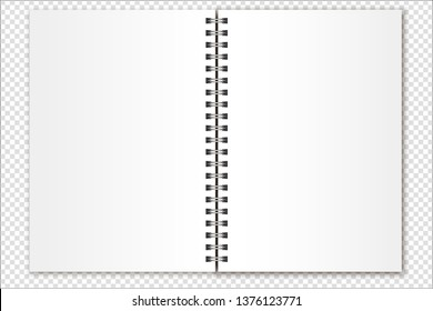 Vector mockup open spiral notebook, organizer, calendar, magazine size a5 on a transparent background. Realistic metal spiral and light shadows. Suitable for your design.