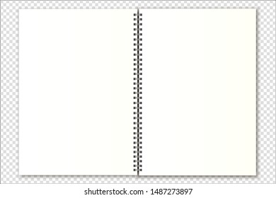Vector mockup open spiral notebook, organizer, calendar, magazine size a4 on a transparent background. Realistic metal spiral and light shadows. Suitable for your design.