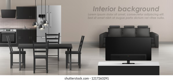 Vector mockup of studio apartment with living room and kitchen. Modern interior with furniture, black sofa, tv, table with chairs, household appliances. Contemporary design, template for roll banner