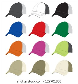 A vector mock-up template containing an assortment of different color trucker hats.