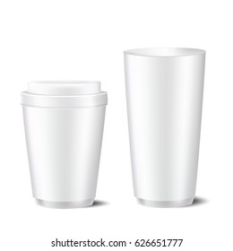 VECTOR MOCKUP TEMPLATE: Set of two disposable white gray caps with lid and without lid on isolated background ready for design