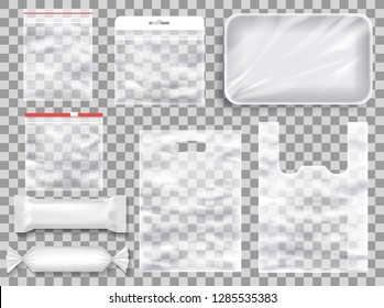 Vector mockup of transparent realistic polyethylene food packaging
