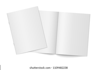 Vector mockup of two thin books with soft cover isolated. Gray vertical magazine, brochure or booklet template opened and closed on white background. 3d illustration for your design