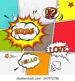 Vector mock-up of a typical comic book page with various speech bubbles, symbols and colored halftone backgrounds. Comic speech bubble background pop-art style