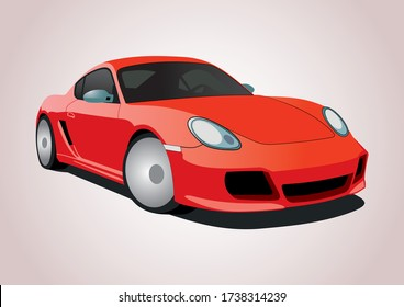 vector model of a red sports car. Porsche Cayman.