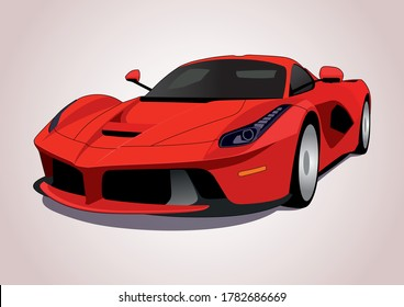 vector model of a red super car. LaFerrari